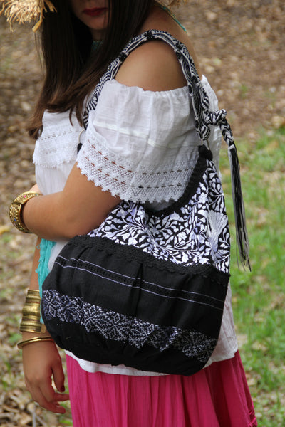 Black and White  hand  Embroidered Huipil Boho Travel tote