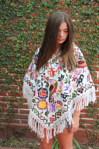 Handwoven cross stitched Poncho