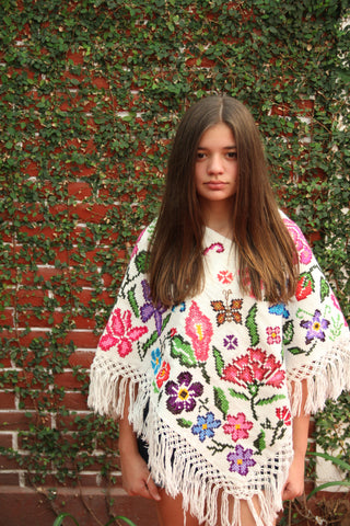 Beige and Floral Handwoven cross stitched Poncho