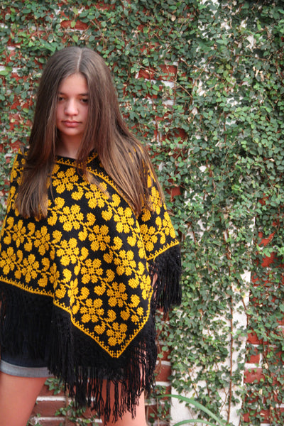 Black and gold Handwoven cross stitched Poncho