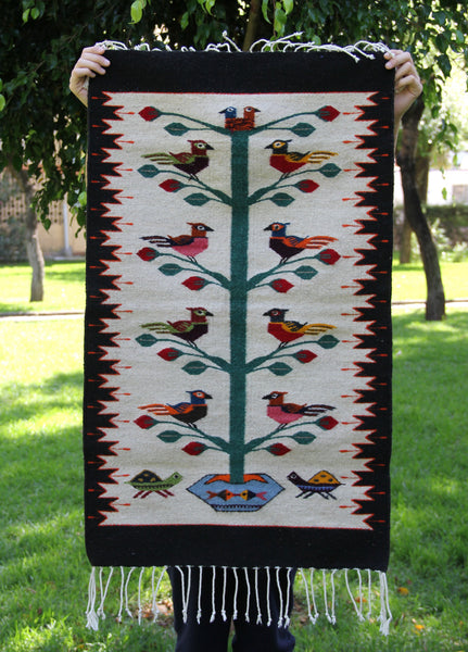 Little birds Handwoven Mexican Wool Rug