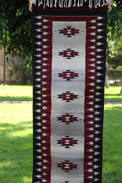 Black and Red  Handwoven Mexican Wool Rug