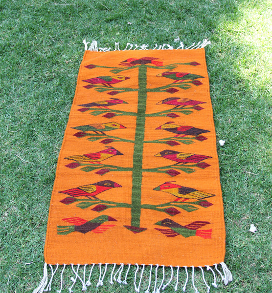 Orange birds Handwoven Mexican Wool Rug