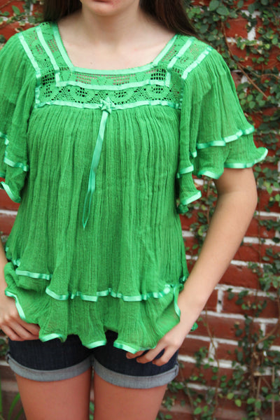 LIME Gauzy Butterfly  Peasant blouse