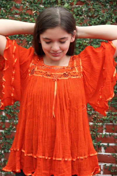 Orange Gauzy Butterfly  Peasant blouse