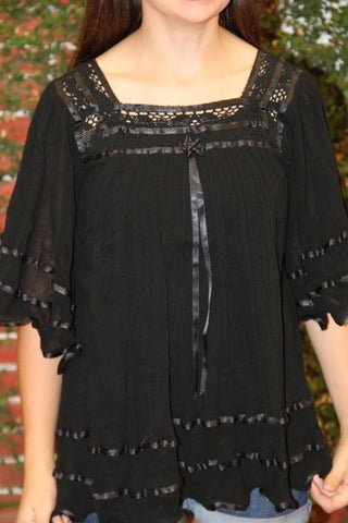 Black Gauzy Butterfly  Peasant blouse