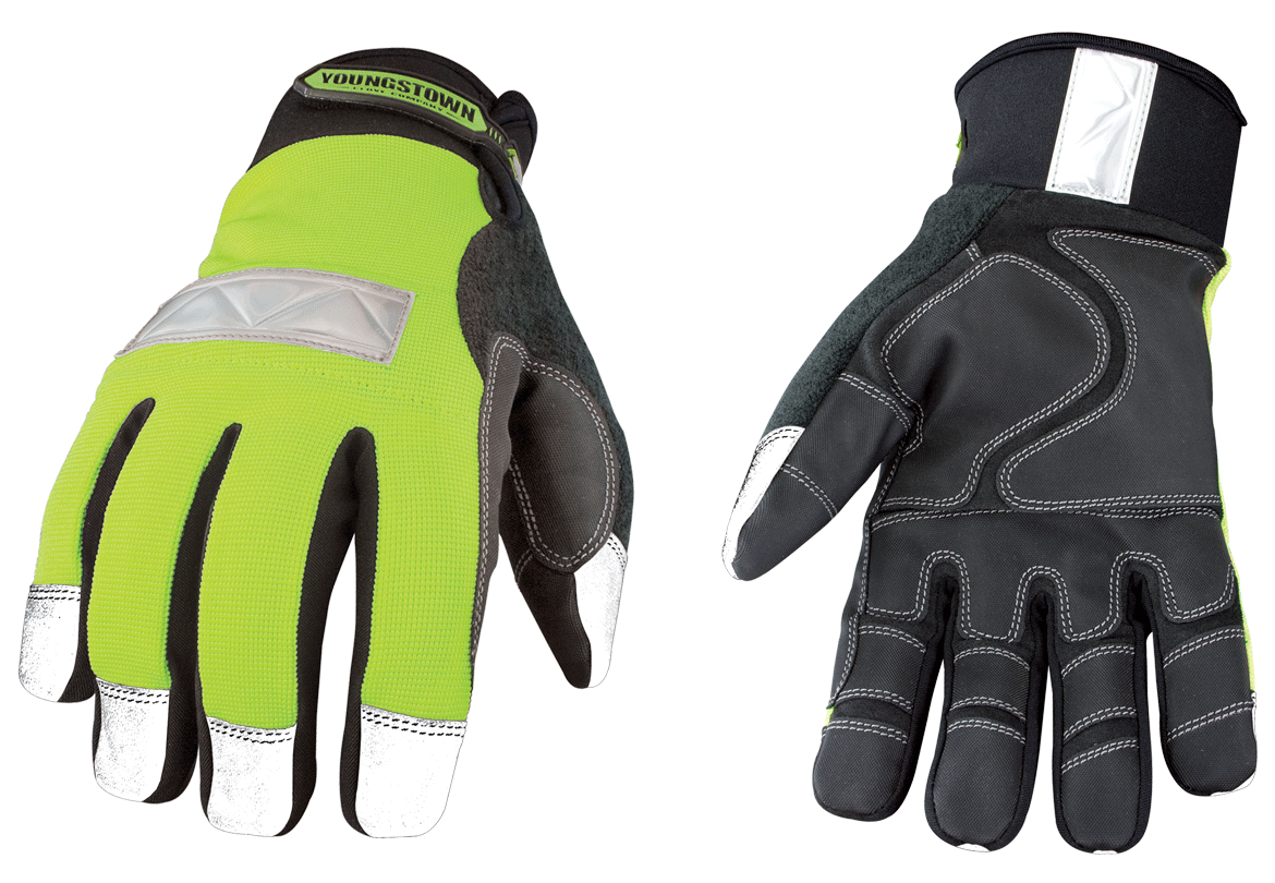 Youngstown High Visibility (High Viz) Gloves - Multiple Areas of Reflectivity