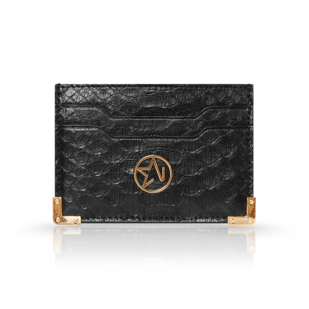 JOSH HAYES LONDON Louis Card Holder in Black Python for Men and Women