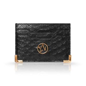 Load image into Gallery viewer, JOSH HAYES LONDON Louis Card Holder in Black Python for Men and Women