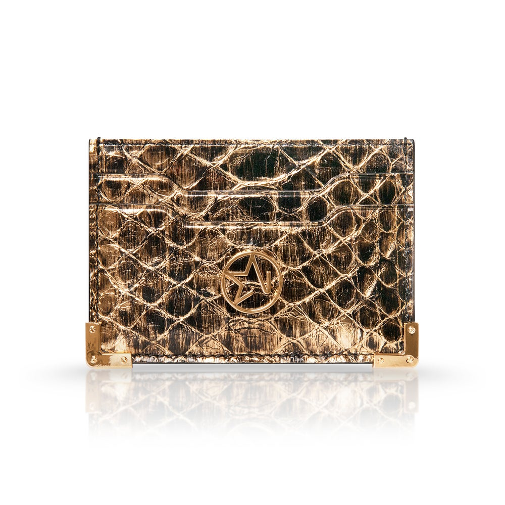 JOSH HAYES LONDON Louis Card Holder in Gold Python for Men and Women