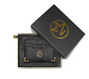 Load image into Gallery viewer, JOSH HAYES LONDON Louis Card Holder in Black Python for Men and Women (Boxed)