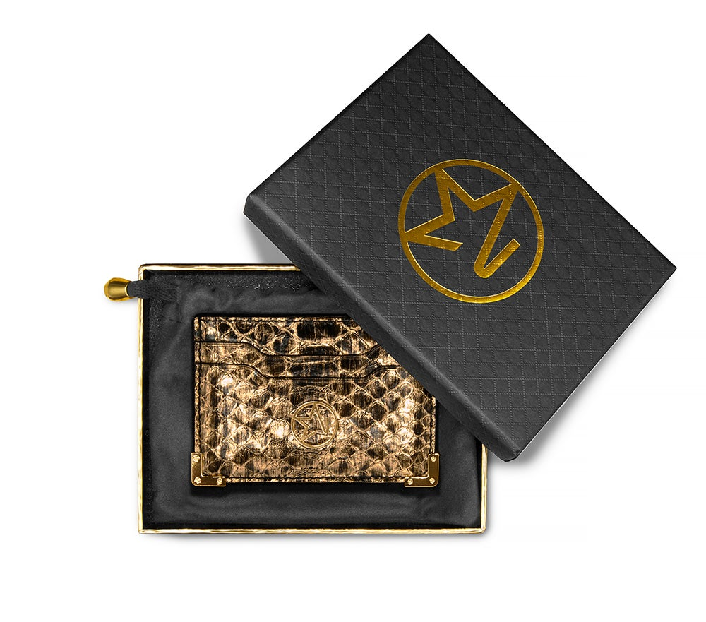JOSH HAYES LONDON Louis Card Holder in Gold Python for Men and Women (Boxed)