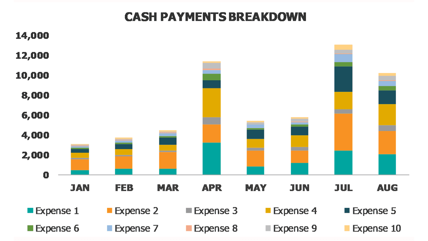 Personal And Family Budget Dashboard Cash Payments Breakdown
