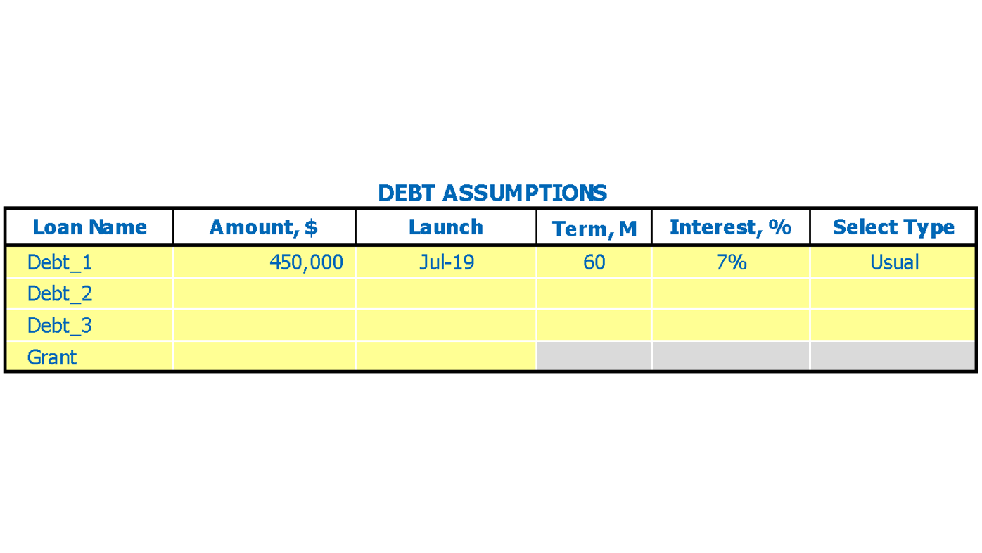 Dance School Financial Model Excel Template Debts Inputs