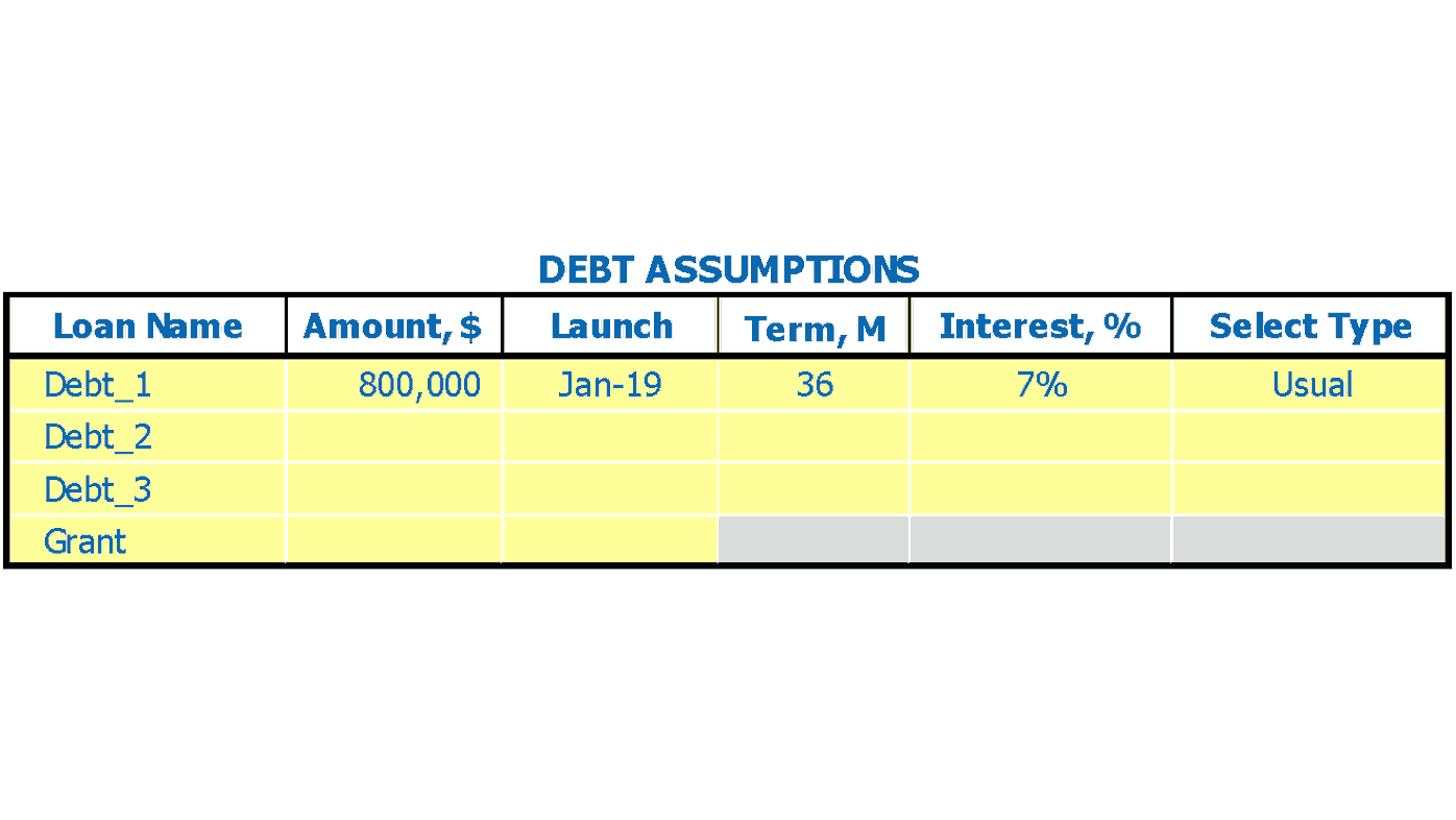 Preschool Financial Pro Forma Dashboard Debt Inputs Assumptions Inputs