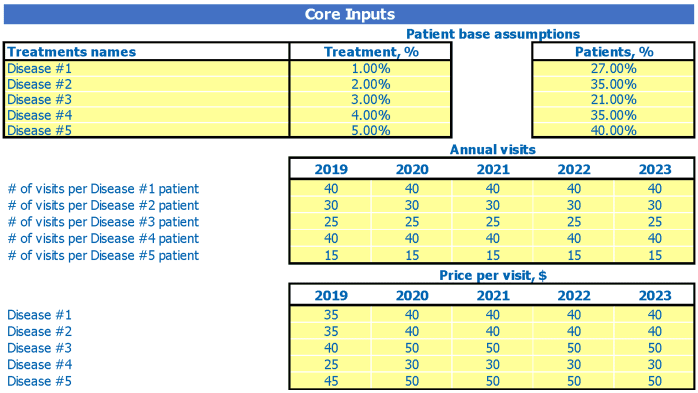 Orthopedic Center Cash Flow Forecast Excel Template Dashboard Core Inputs