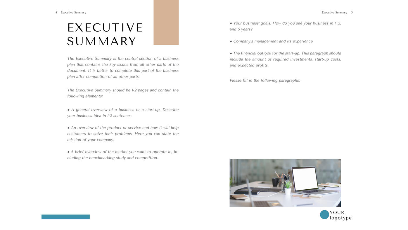 Tailor Business Plan Template Word Doc Executive Summary