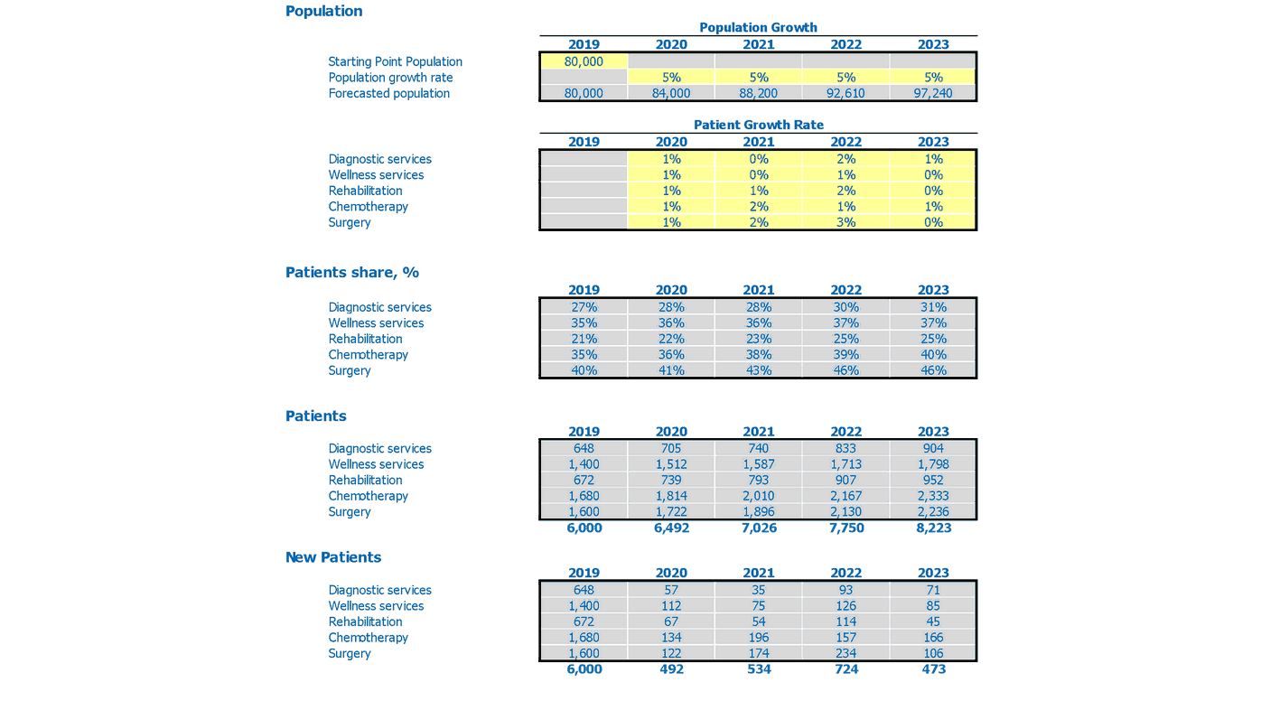 Dermatology Center Financial Plan Excel Template Popupation Inputs