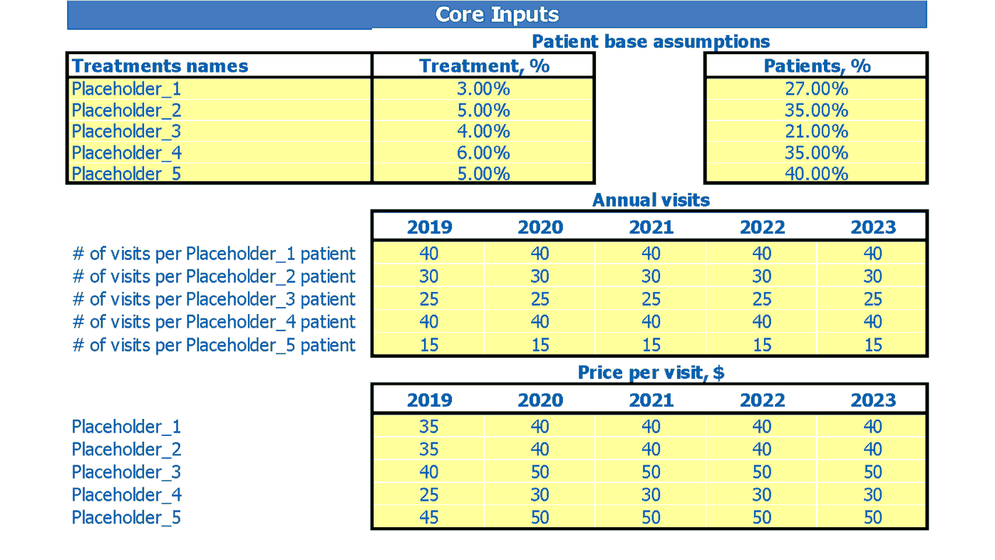 Medical Practice Financial Forecast Dashboard Core Inputs