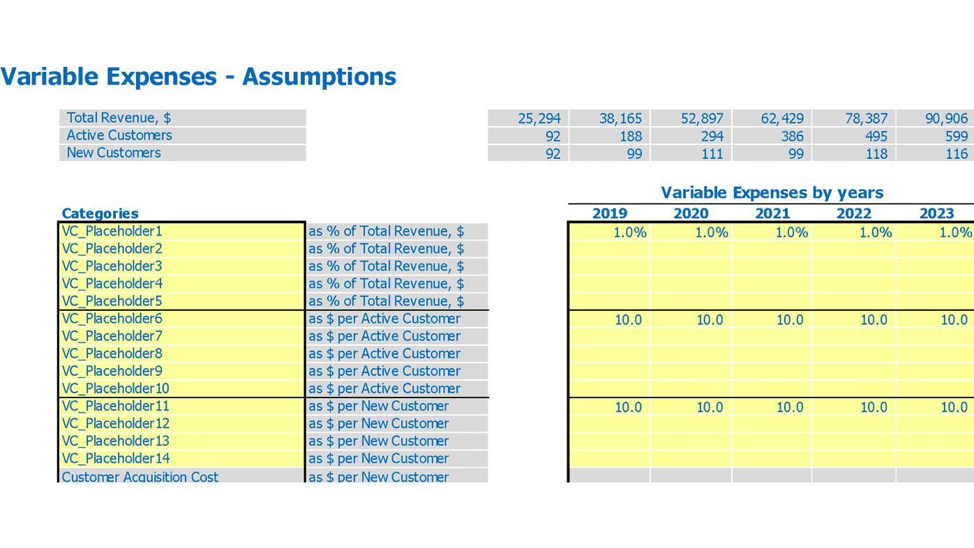 Actuals Saas Financial Projection Variable Expenses Inputs