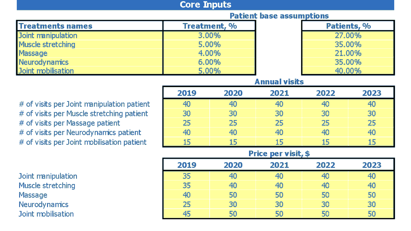 Physiotherapy Clinic Financial Projection Dashboard Core Inputs