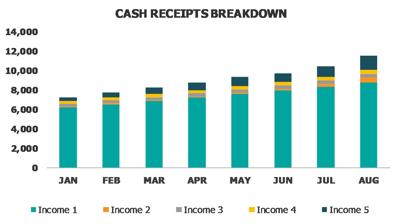 Personal And Family Budget Dashboard Cash Receipt Breakdown