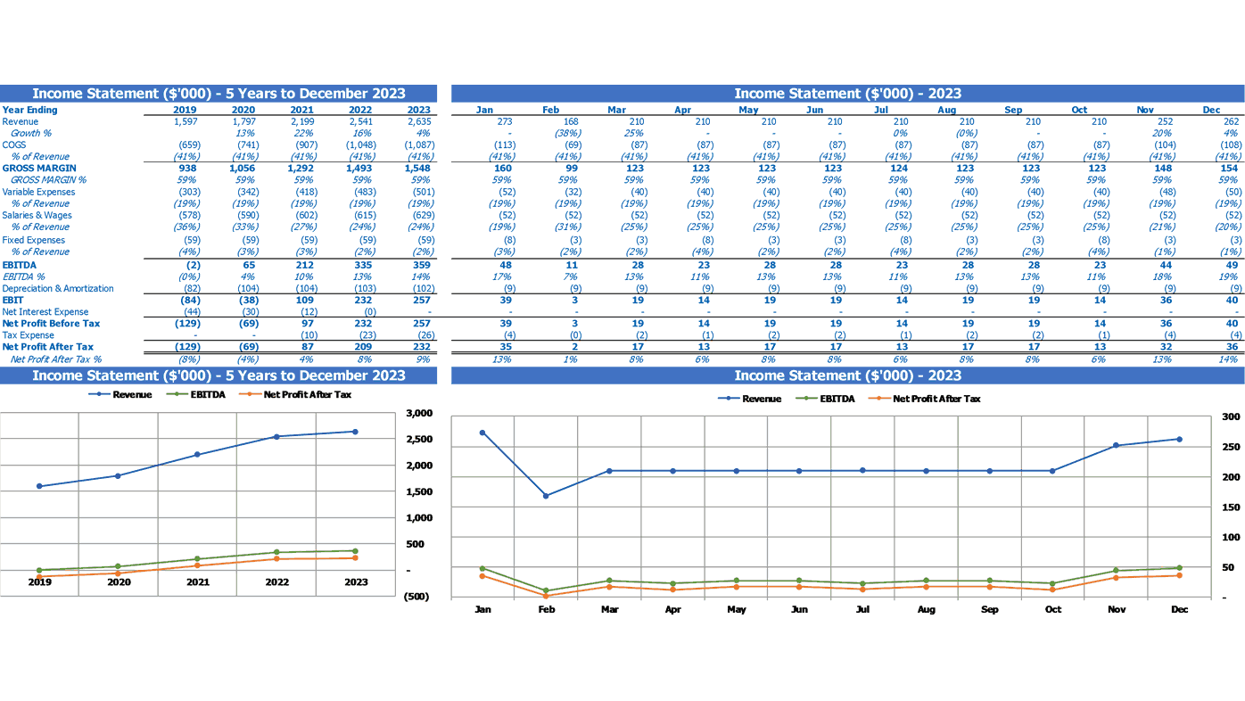 Dermatology Center Business Model Excel Template Financial Summary Profit And Loss Statement
