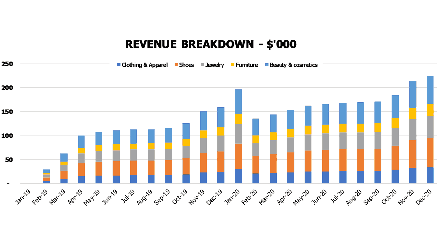 Dropshipping Financial Pro Forma Financial Charts Revenue Breakdown