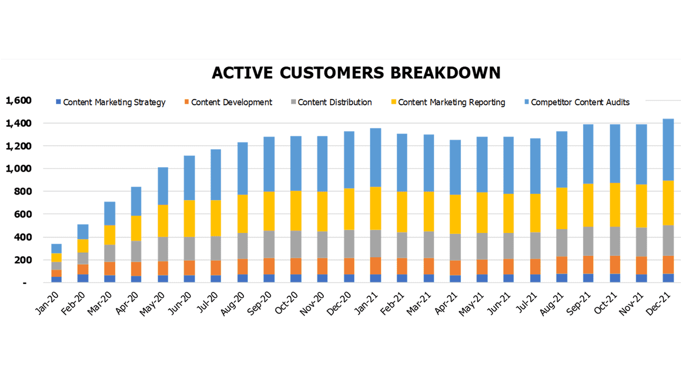 Content Marketing Financial Model Operational Charts Active Customers Breakdown