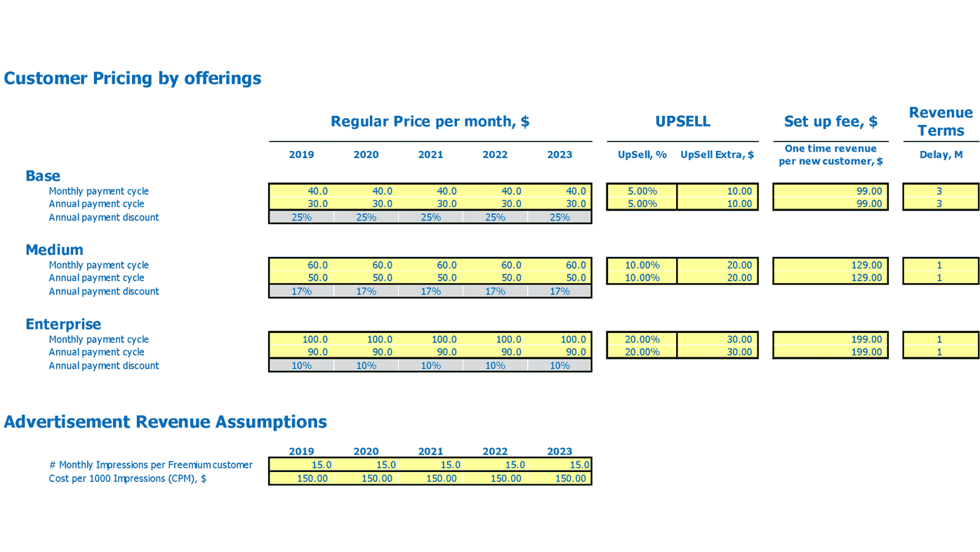 Data Analytics Saas Financial Model Saas Revenue Model Pricing Inputs