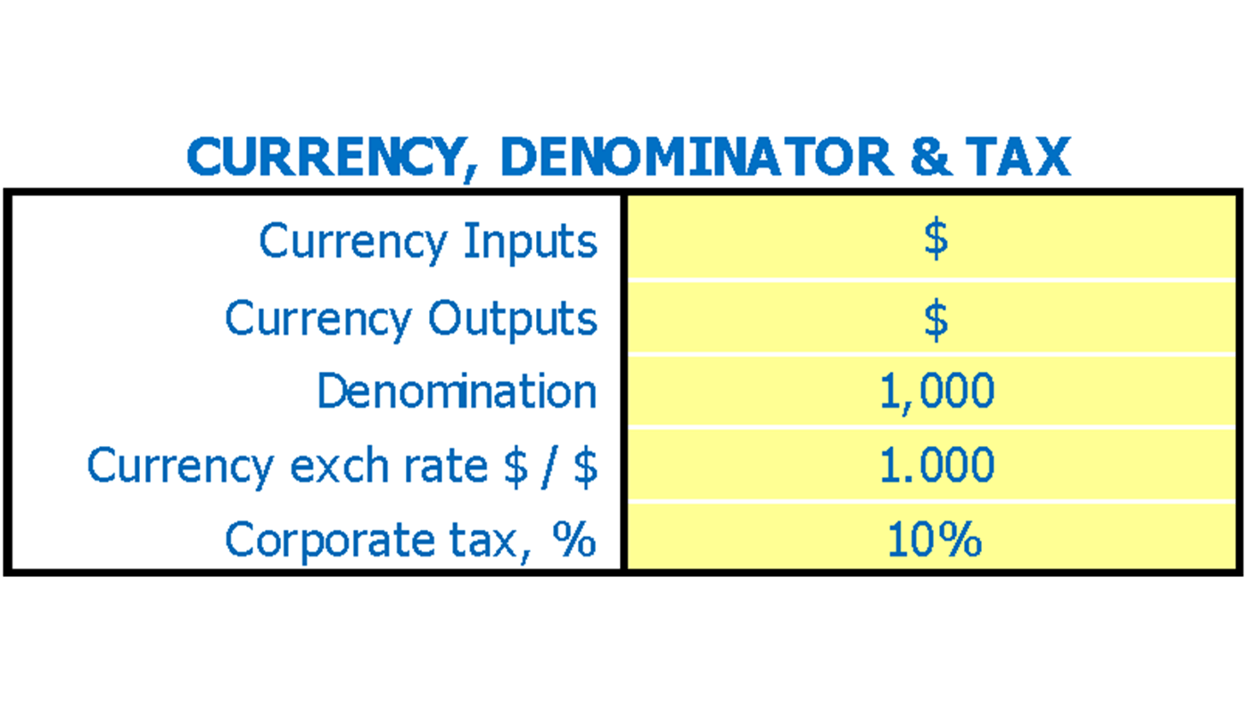 Coffee Shop Financial Model Dashboard Currency And Denominator Inputs