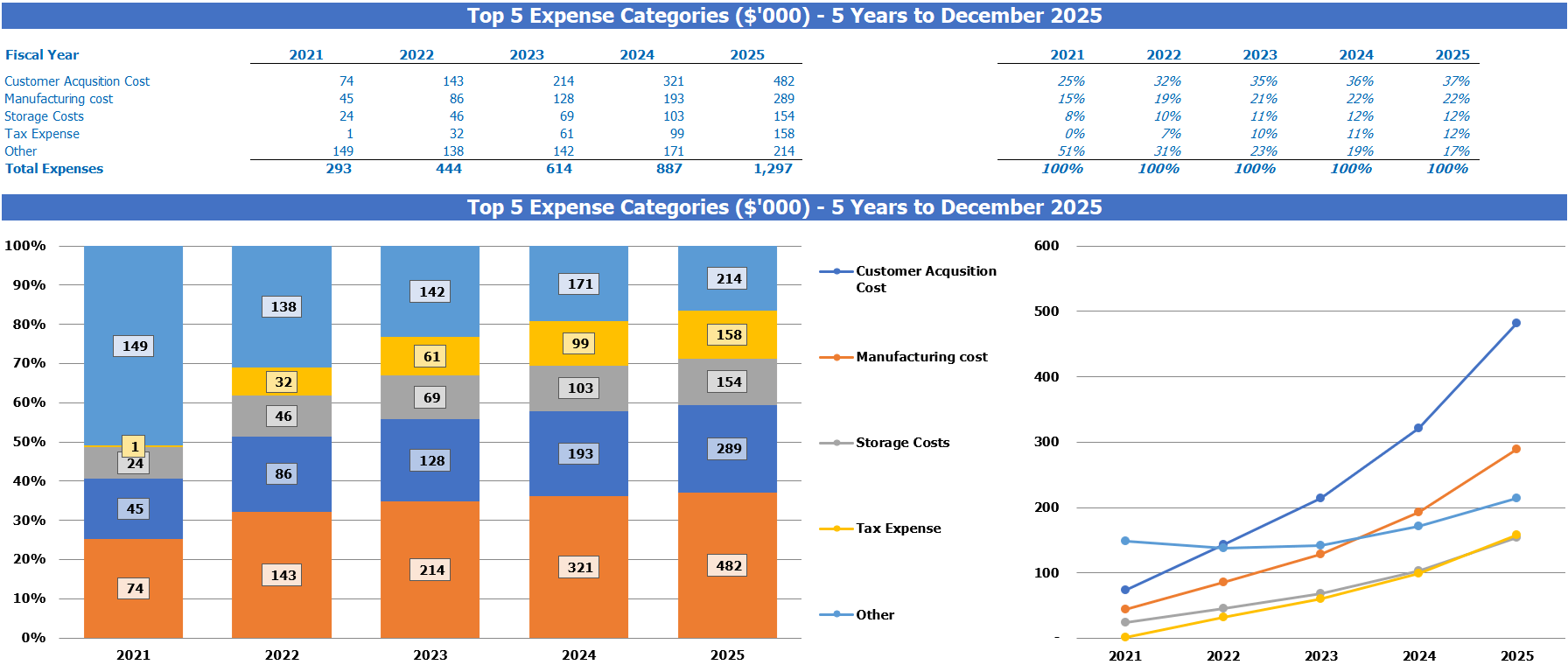 E commerce Financial Model Top Expenses Summary Report