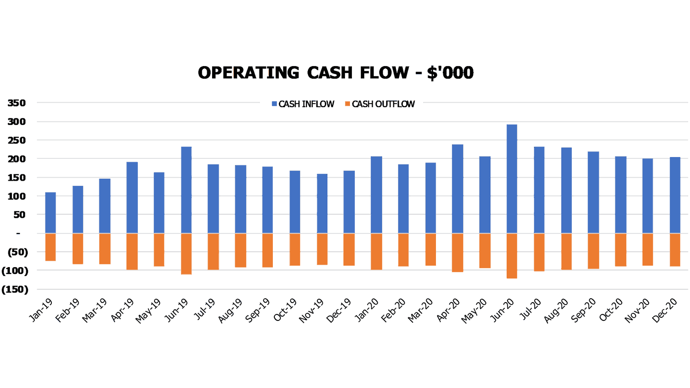 Hotel Business Plan Financial Charts Operating Cash Flow