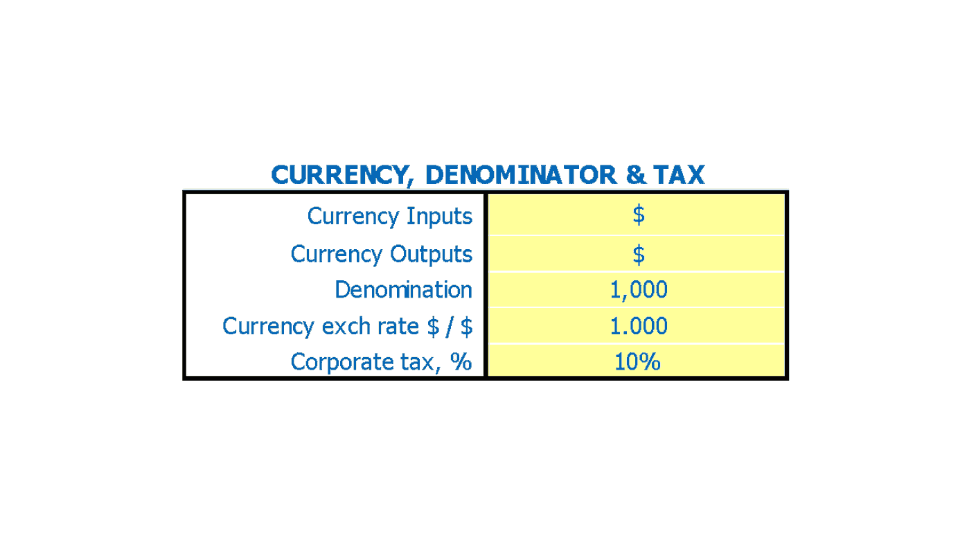 Hotel Business Plan Financial Model Currency and Denominator Inputs