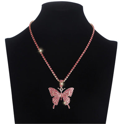 collier papillon rose