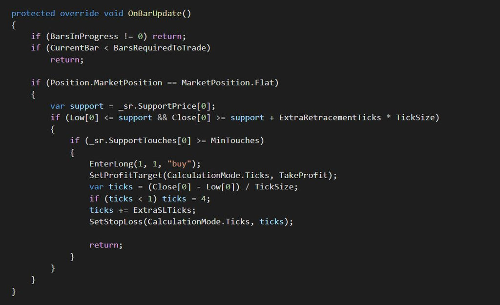 Adding code for the long entries of the automated strategy