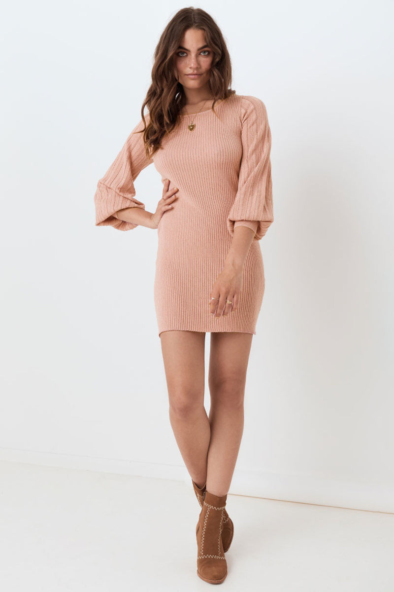 Margot Knit Mini Dress - Rose
