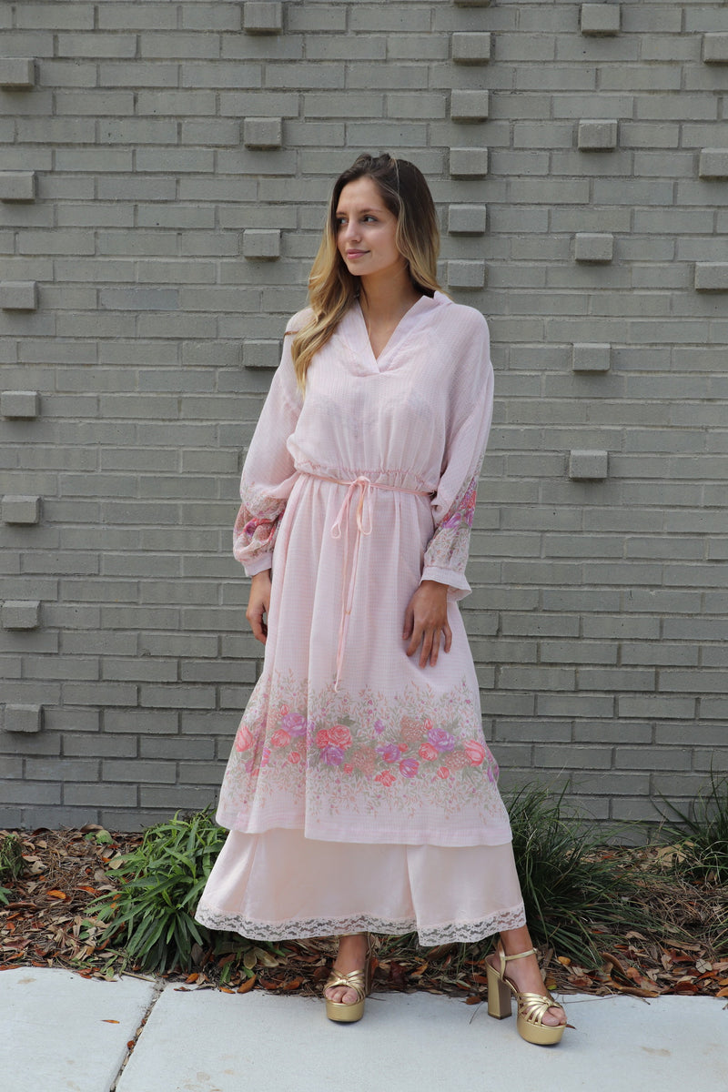 Pink Floral Vintage Cotton Dress