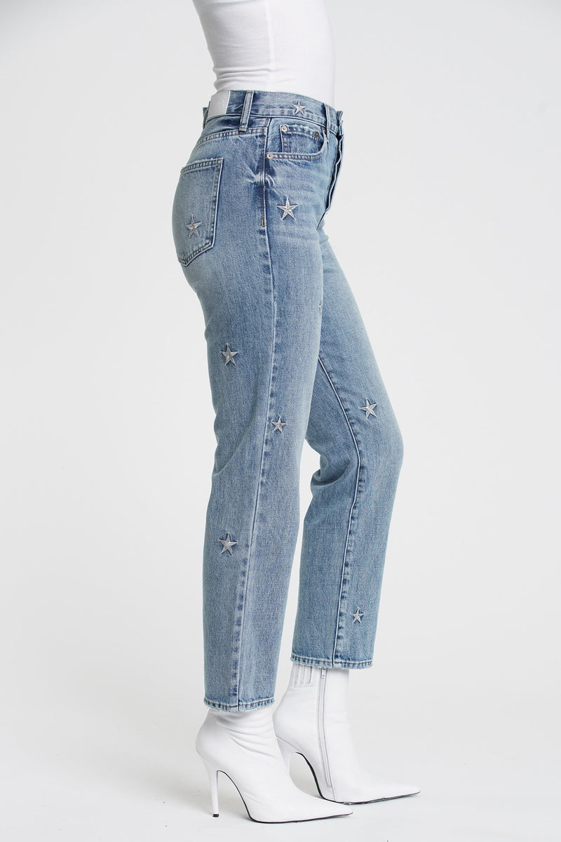 Charlie Star Embroidery High Rise Jeans