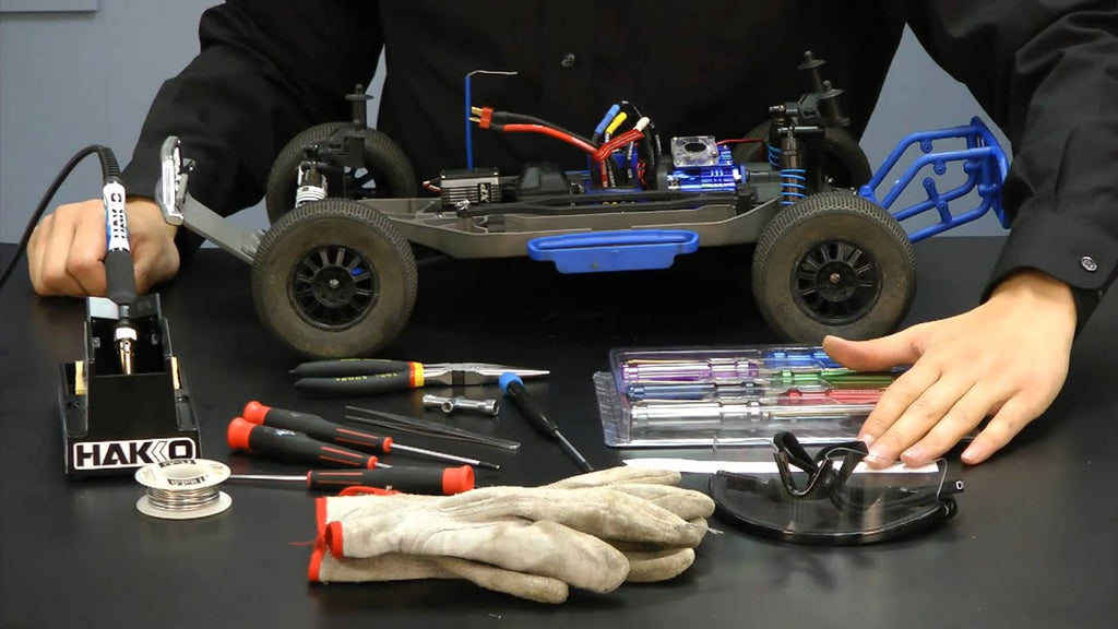 photo of common tools for working on a remote control car or truck