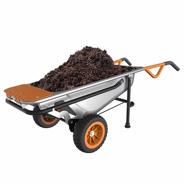 WORX WG050 Yard Cart, 300 lb, Metal Deck, 2 -Wheel, 10 in Wheel, Flat-Free Wheel, Comfort-Grip Handle