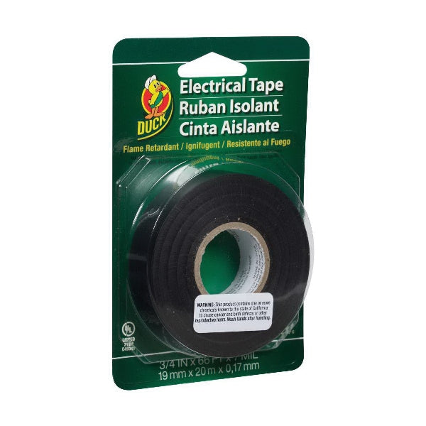 Duck 00-04005-02 Electrical Tape, 66 ft L, 3/4 in W, Vinyl Backing, Black