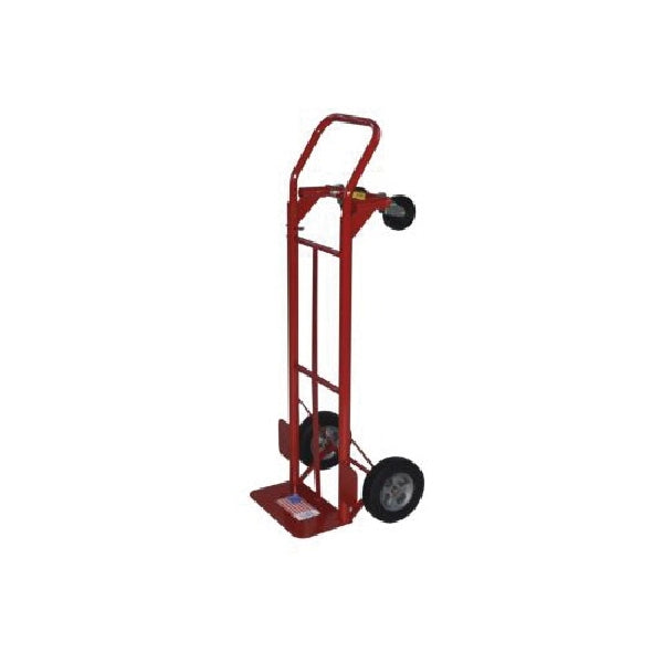Milwaukee Hand Trucks 35080 Convertible Hand Truck with Tires, 7-1/2 in W Toe Plate, 14 in D Toe Plate, 600 lb, Red
