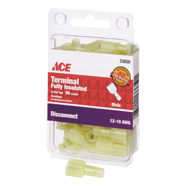 ACE 33650 Male Disconnect, 12 to 10 AWG Wire, 1/4 in Stud, Nylon Insulation, Yellow, 50, Carded