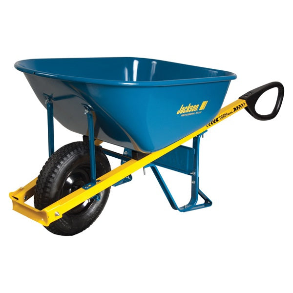 JACKSON M6TCFF Wheelbarrow, Steel, 1 -Wheel, Flat-Free Wheel, 16 in Wheel, Ergonomic Handle