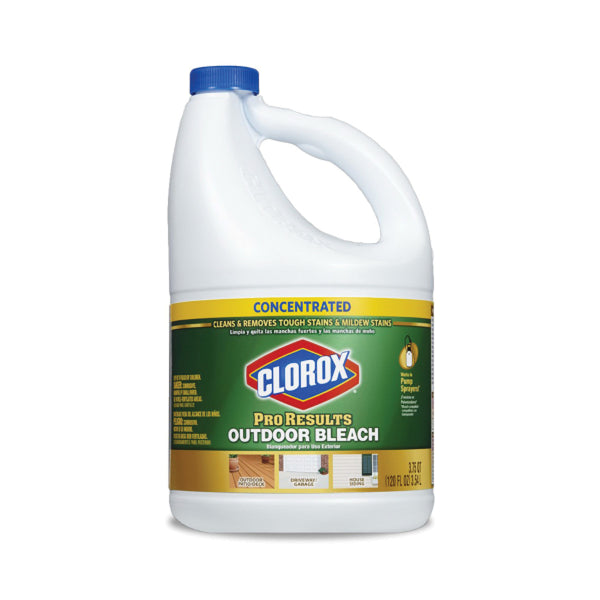 Clorox ProResults 32437 Outdoor Bleach, 121 oz, Liquid, Bleach, Pale Yellow