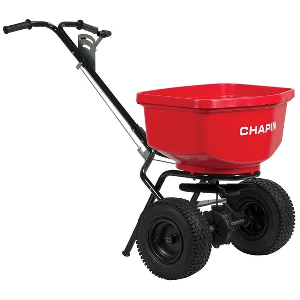 CHAPIN 8303C Contractor Turf Spreader, 100 lb Capacity, Steel Frame, Poly Hopper, Pneumatic Wheel