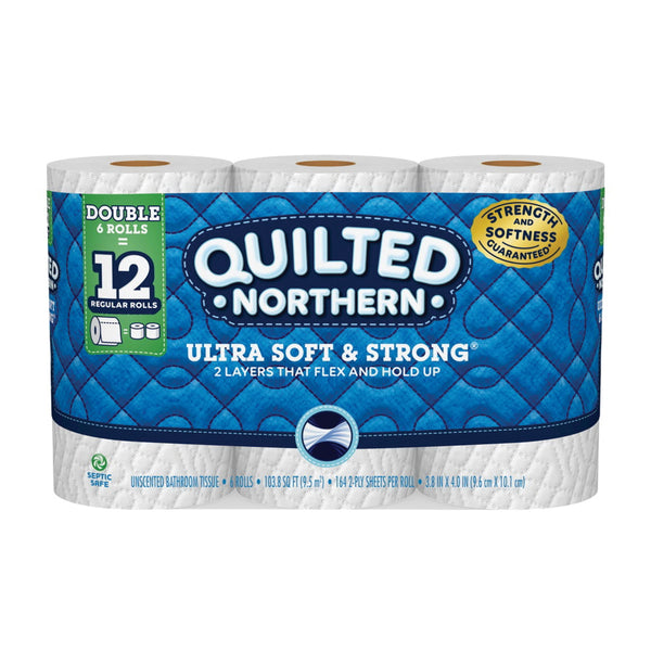 Quilted Northern 2218311 Toilet Tissue, 4 in L x 4 in W Sheet, 2-Ply, Paper