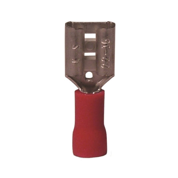 GB 20-141F Disconnect Terminal, 600 V, 22 to 16 AWG Wire, 1/4 in Stud, Vinyl Insulation, Red, 21/Clam