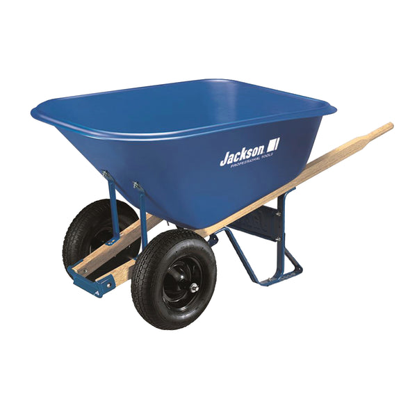 JACKSON MP1010 Wheelbarrow, 10 cu-ft Volume, Poly, 2 -Wheel, Pneumatic Wheel, 16 in Wheel